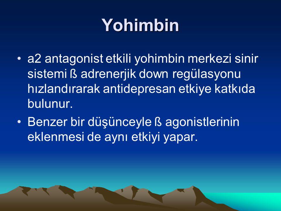 Yohimbin a2 antagonist etkili yohimbin merkezi sinir sistemi ß adrenerjik down regülasyonu hızlandırarak antidepresan etkiye katkıda bulunur. Benzer b