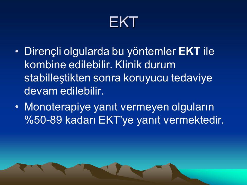 EKT Dirençli olgularda bu yöntemler EKT ile kombine edilebilir. Klinik durum stabilleştikten sonra koruyucu tedaviye devam edilebilir. Monoterapiye ya