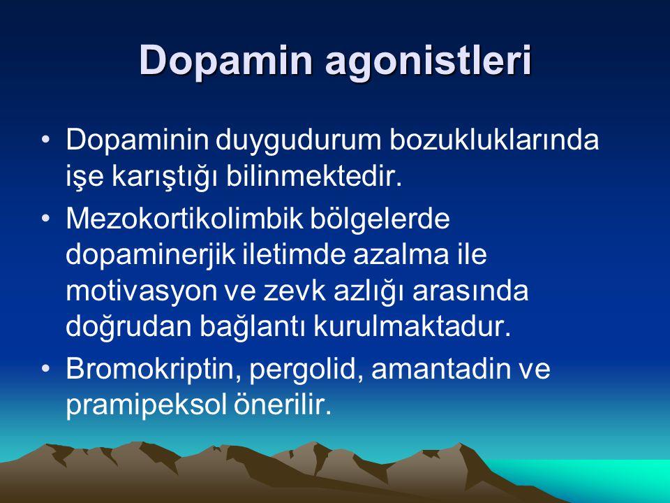 Dopamin agonistleri Dopaminin duygudurum bozukluklarında işe karıştığı bilinmektedir. Mezokortikolimbik bölgelerde dopaminerjik iletimde azalma ile mo
