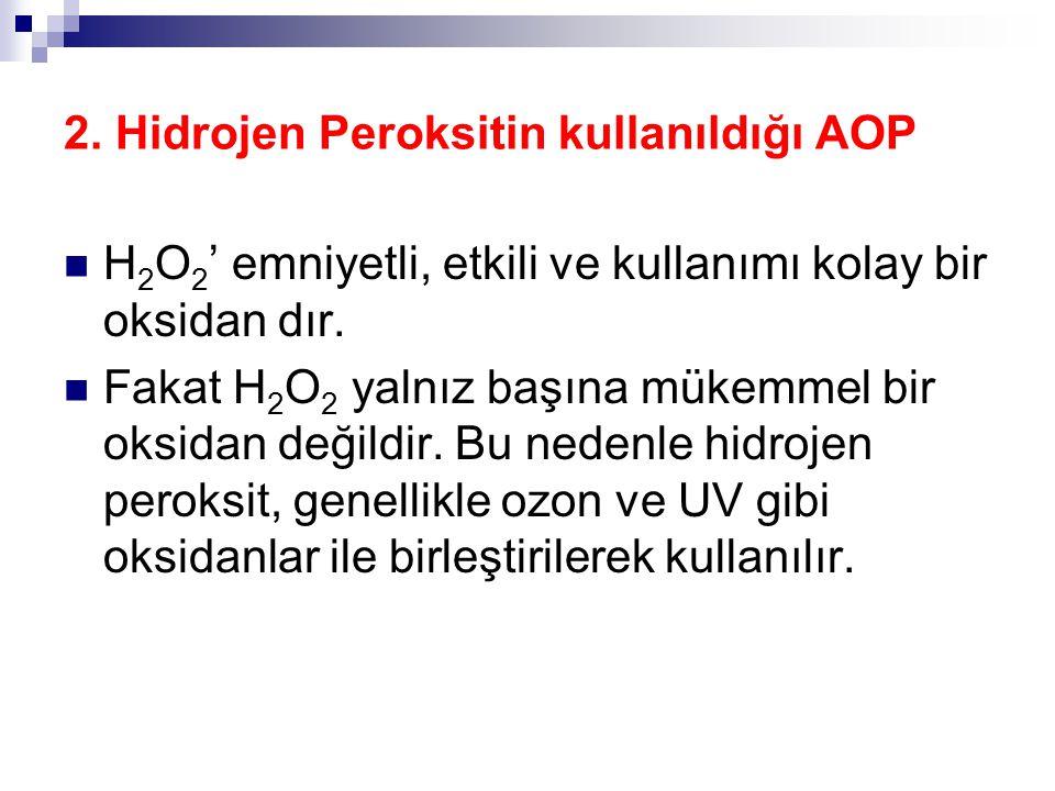 2. Hidrojen Peroksitin kullanıldığı AOP H 2 O 2 ' emniyetli, etkili ve kullanımı kolay bir oksidan dır. Fakat H 2 O 2 yalnız başına mükemmel bir oksid