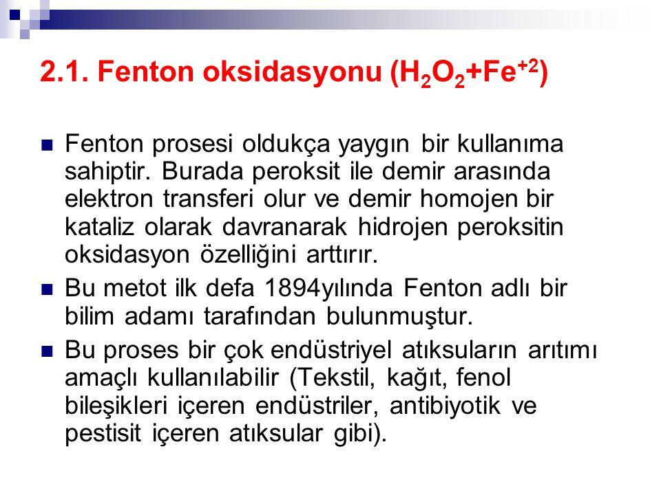 2.1. Fenton oksidasyonu (H 2 O 2 +Fe +2 ) Fenton prosesi oldukça yaygın bir kullanıma sahiptir. Burada peroksit ile demir arasında elektron transferi