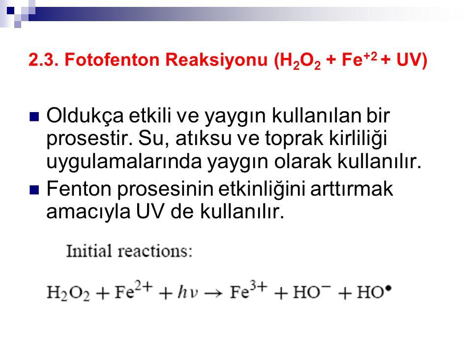 2.3. Fotofenton Reaksiyonu (H 2 O 2 + Fe +2 + UV) Oldukça etkili ve yaygın kullanılan bir prosestir. Su, atıksu ve toprak kirliliği uygulamalarında ya