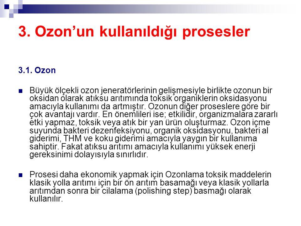3. Ozon'un kullanıldığı prosesler 3.1. Ozon Büyük ölçekli ozon jeneratörlerinin gelişmesiyle birlikte ozonun bir oksidan olarak atıksu arıtımında toks