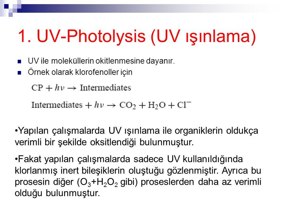1. UV-Photolysis (UV ışınlama) UV ile moleküllerin okitlenmesine dayanır. Örnek olarak klorofenoller için Yapılan çalışmalarda UV ışınlama ile organik