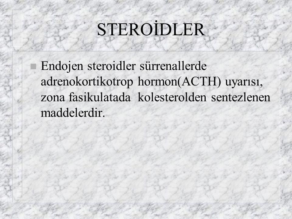 STEROİDLER n Endojen steroidler sürrenallerde adrenokortikotrop hormon(ACTH) uyarısı, zona fasikulatada kolesterolden sentezlenen maddelerdir.