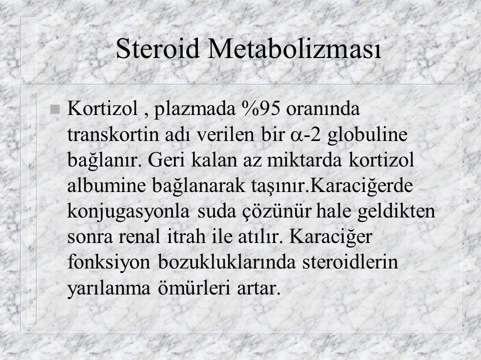 Steroid Metabolizması n Kortizol, plazmada %95 oranında transkortin adı verilen bir  -2 globuline bağlanır.