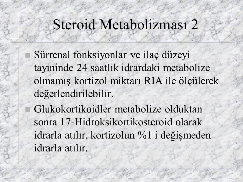 Steroid Metabolizması 2 n Sürrenal fonksiyonlar ve ilaç düzeyi tayininde 24 saatlik idrardaki metabolize olmamış kortizol miktarı RIA ile ölçülerek değerlendirilebilir.
