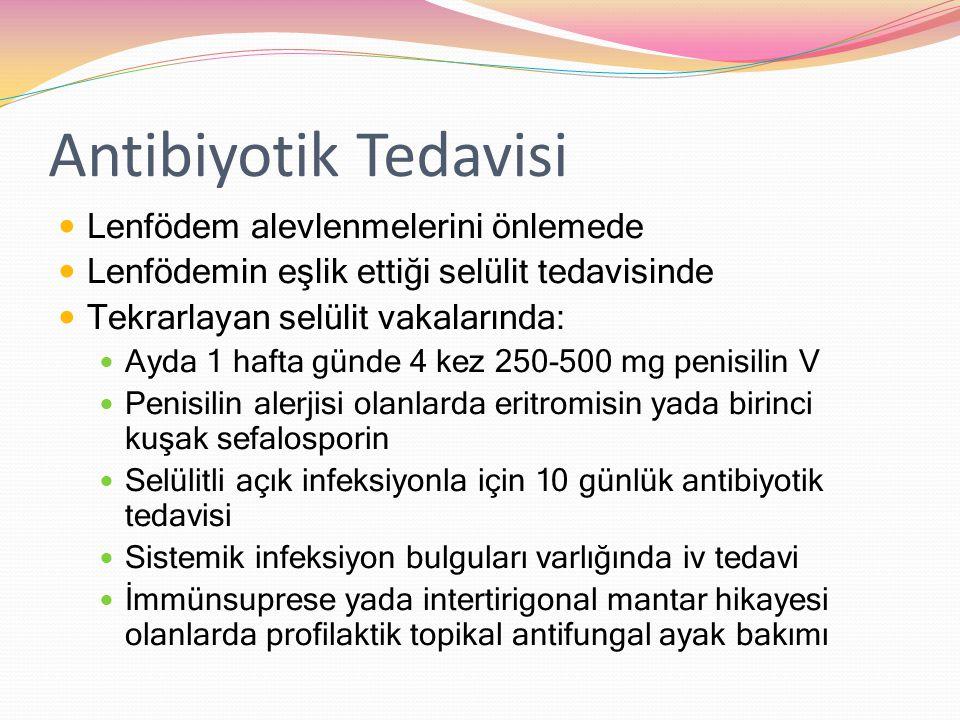 Antibiyotik Tedavisi Lenfödem alevlenmelerini önlemede Lenfödemin eşlik ettiği selülit tedavisinde Tekrarlayan selülit vakalarında: Ayda 1 hafta günde 4 kez 250-500 mg penisilin V Penisilin alerjisi olanlarda eritromisin yada birinci kuşak sefalosporin Selülitli açık infeksiyonla için 10 günlük antibiyotik tedavisi Sistemik infeksiyon bulguları varlığında iv tedavi İmmünsuprese yada intertirigonal mantar hikayesi olanlarda profilaktik topikal antifungal ayak bakımı