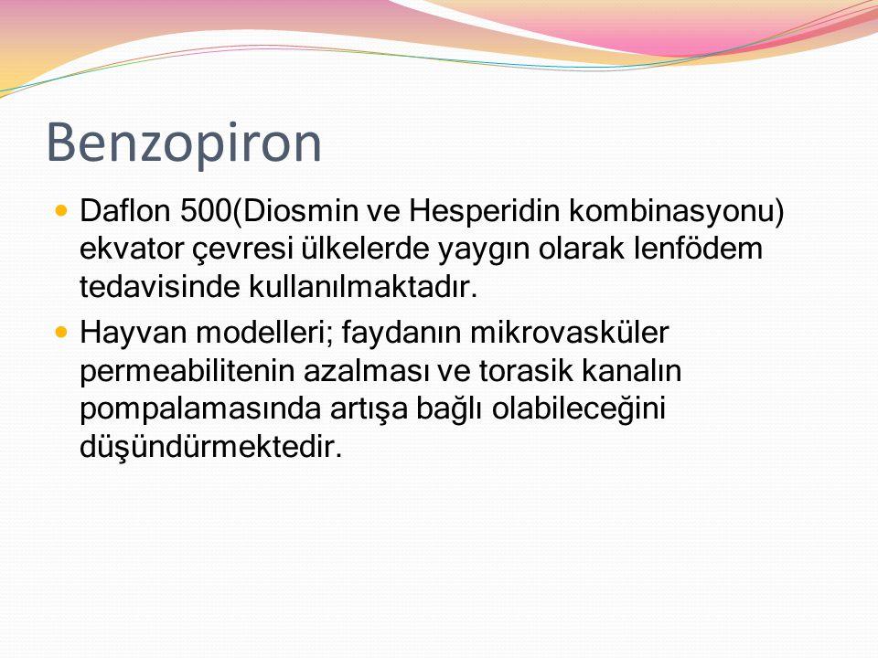 Benzopiron Daflon 500(Diosmin ve Hesperidin kombinasyonu) ekvator çevresi ülkelerde yaygın olarak lenfödem tedavisinde kullanılmaktadır. Hayvan modell