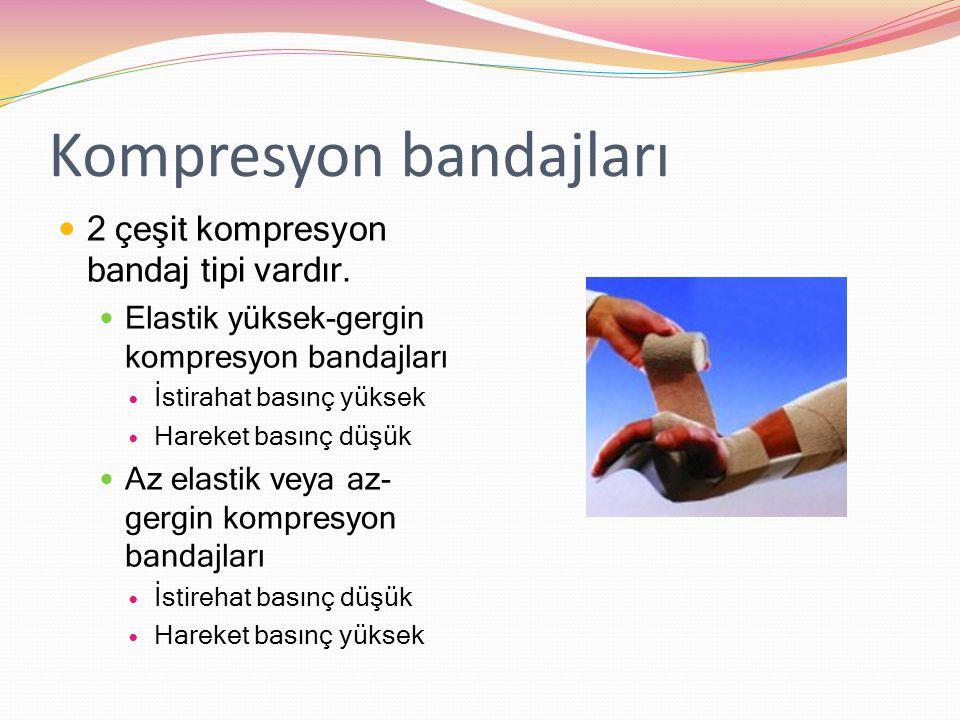 Kompresyon bandajları 2 çeşit kompresyon bandaj tipi vardır. Elastik yüksek-gergin kompresyon bandajları İstirahat basınç yüksek Hareket basınç düşük