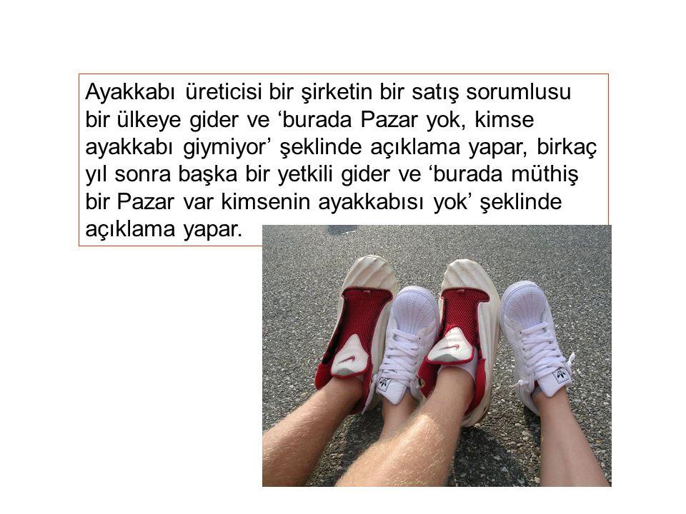 Ayakkabı üreticisi bir şirketin bir satış sorumlusu bir ülkeye gider ve 'burada Pazar yok, kimse ayakkabı giymiyor' şeklinde açıklama yapar, birkaç yı