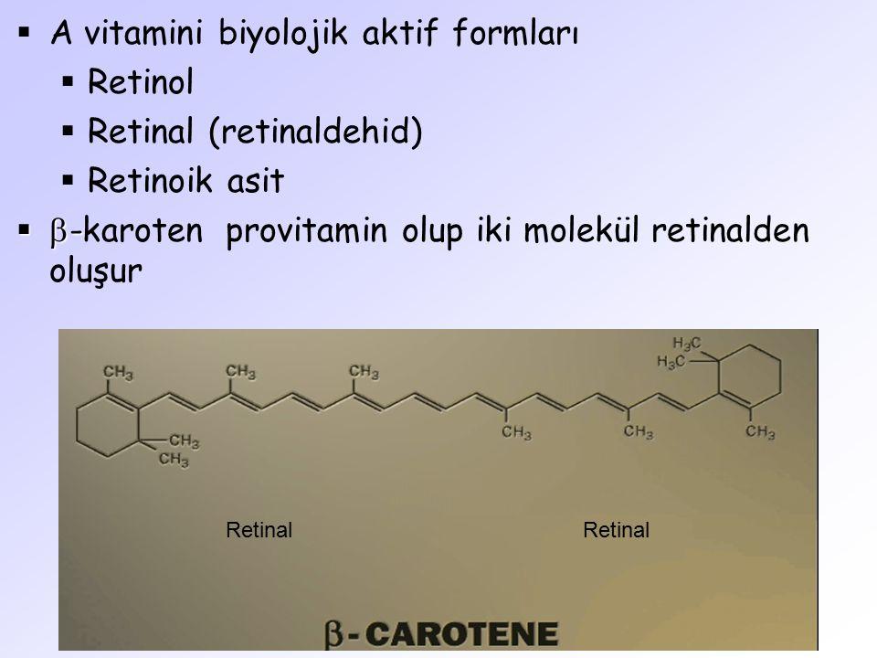  A vitamini biyolojik aktif formları  Retinol  Retinal (retinaldehid)  Retinoik asit   -   -karoten provitamin olup iki molekül retinalden olu