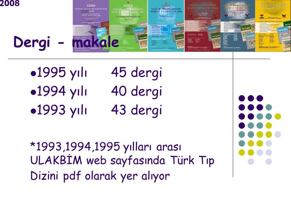 Dergi - makale 1995 yılı 45 dergi 1994 yılı 40 dergi 1993 yılı 43 dergi *1993,1994,1995 yılları arası ULAKBİM web sayfasında Türk Tıp Dizini pdf olarak yer alıyor