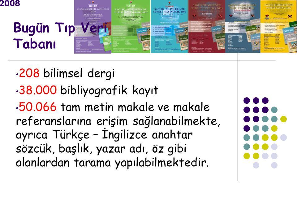 2008 Bugün Tıp Veri Tabanı 208 bilimsel dergi 38.000 bibliyografik kayıt 50.066 tam metin makale ve makale referanslarına erişim sağlanabilmekte, ayrıca Türkçe – İngilizce anahtar sözcük, başlık, yazar adı, öz gibi alanlardan tarama yapılabilmektedir.