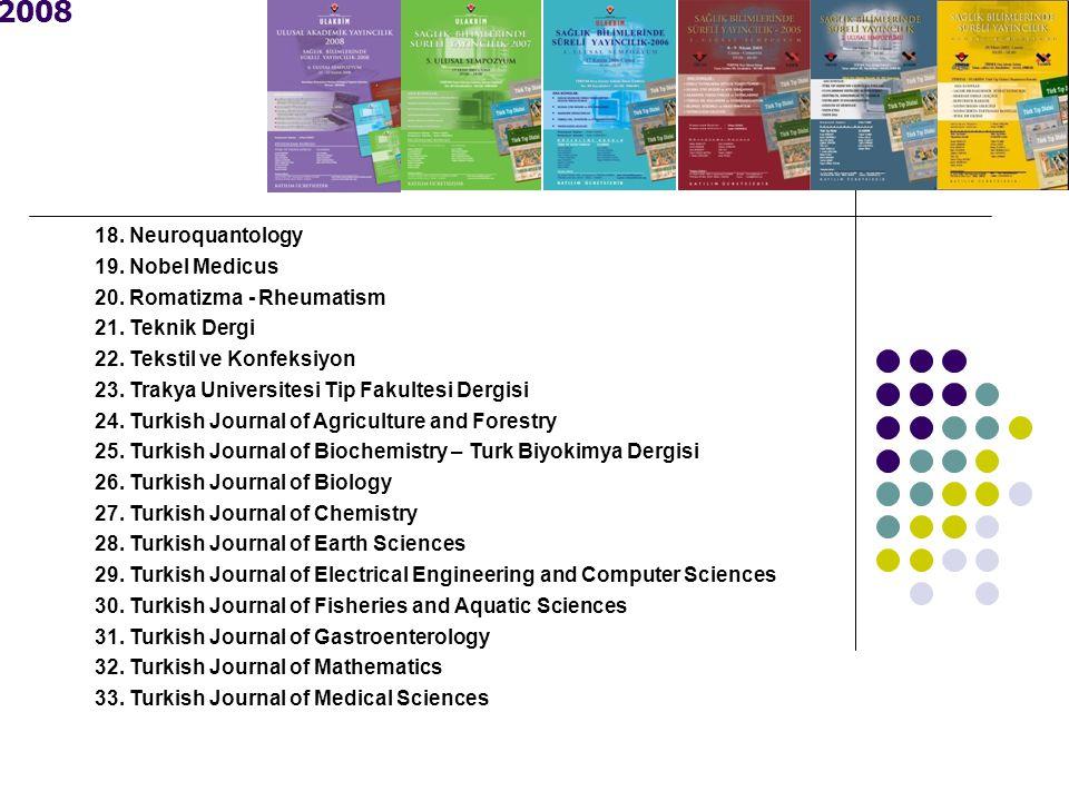 2008 18. Neuroquantology 19. Nobel Medicus 20. Romatizma - Rheumatism 21. Teknik Dergi 22. Tekstil ve Konfeksiyon 23. Trakya Universitesi Tip Fakultes