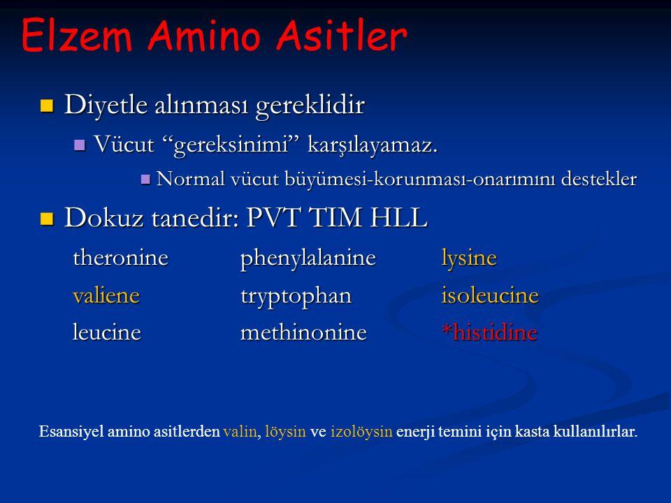 Elzem Amino Asitler Esansiyel amino asitlerden valin, löysin ve izolöysin enerji temini için kasta kullanılırlar. Diyetle alınması gereklidir Diyetle