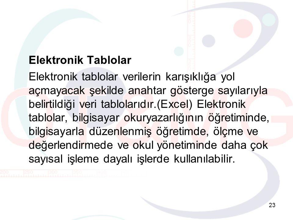 23 Elektronik Tablolar Elektronik tablolar verilerin karışıklığa yol açmayacak şekilde anahtar gösterge sayılarıyla belirtildiği veri tablolarıdır.(Excel) Elektronik tablolar, bilgisayar okuryazarlığının öğretiminde, bilgisayarla düzenlenmiş öğretimde, ölçme ve değerlendirmede ve okul yönetiminde daha çok sayısal işleme dayalı işlerde kullanılabilir.