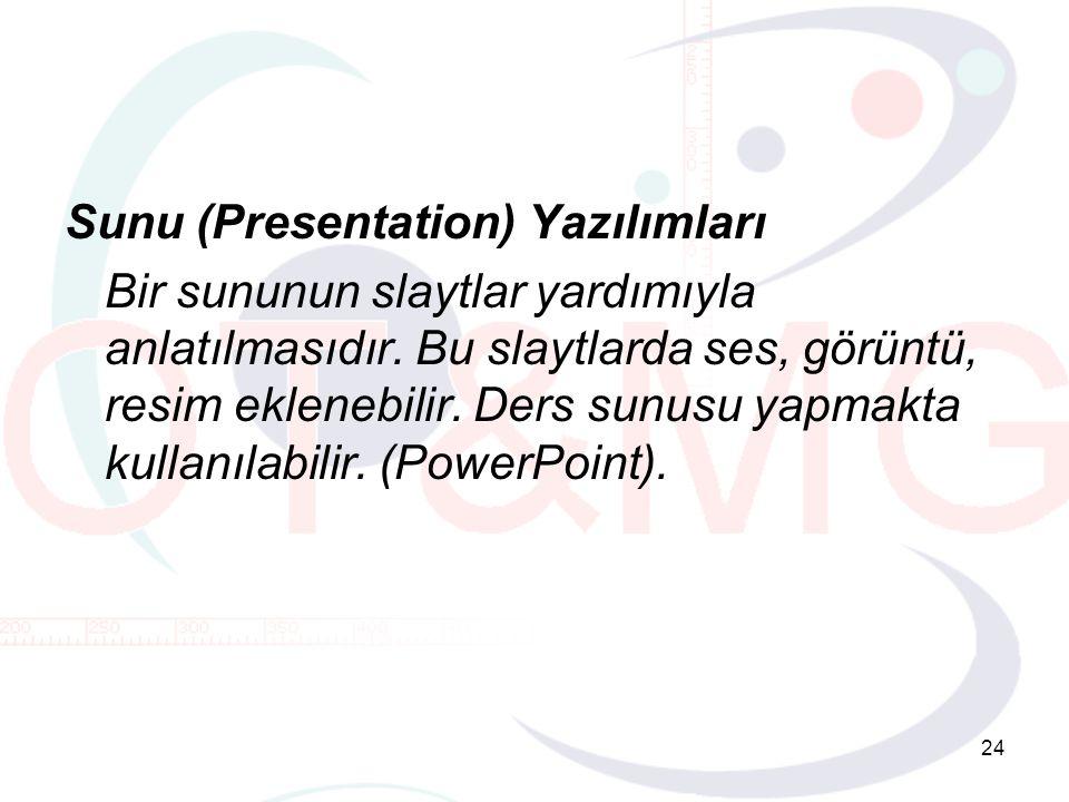 24 Sunu (Presentation) Yazılımları Bir sununun slaytlar yardımıyla anlatılmasıdır.