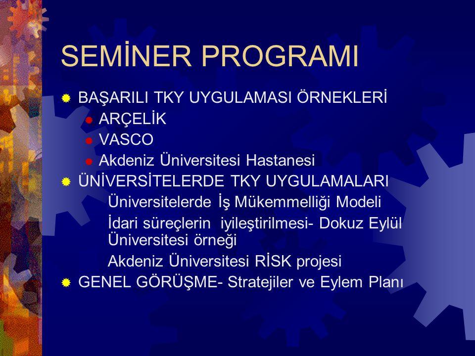 SEMİNER PROGRAMI  BAŞARILI TKY UYGULAMASI ÖRNEKLERİ  ARÇELİK  VASCO  Akdeniz Üniversitesi Hastanesi  ÜNİVERSİTELERDE TKY UYGULAMALARI Üniversitel