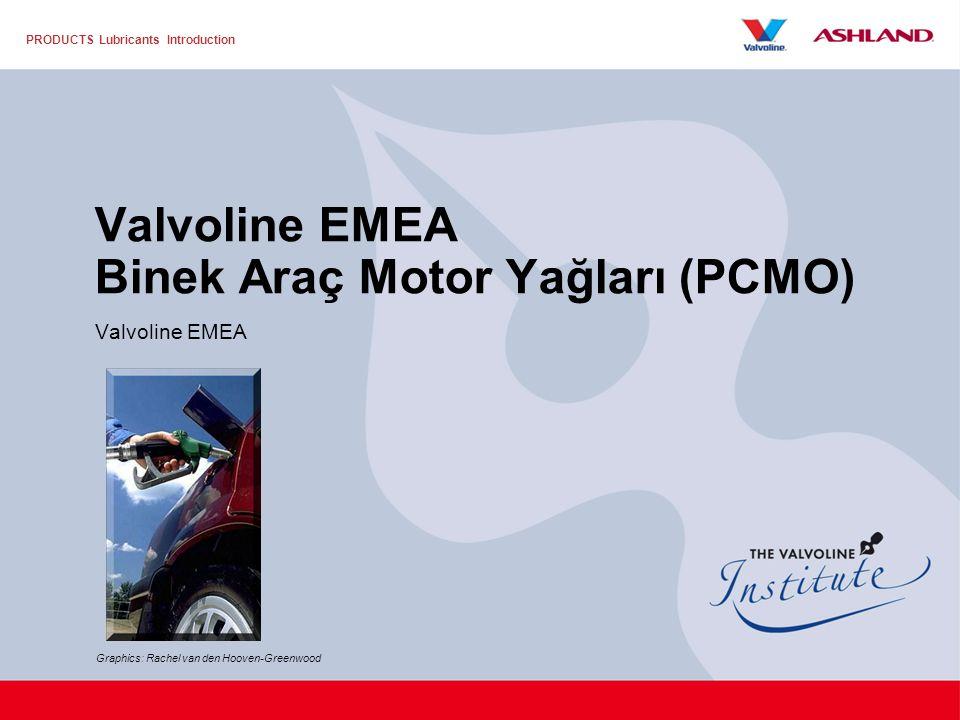 PRODUCTS Lubricants Introduction Valvoline EMEA Binek Araç Motor Yağları (PCMO) Valvoline EMEA Graphics: Rachel van den Hooven-Greenwood