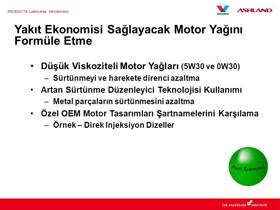 PRODUCTS Lubricants Introduction Motor yağından, daha fazla yakıt ekonomisi talebini oluşturan etmenler: –Daha düşük CO 2 emisyonu ( Kyoto protokolü ) –Daha düşük yakıt tüketimi –Daha düşük mülkiyet maliyeti Yakıt Ekonomisi Yakıt tasarrufu özelliği olan motor yağı kullanımı 1995'ten beri ciddi bir şekilde artmıştır