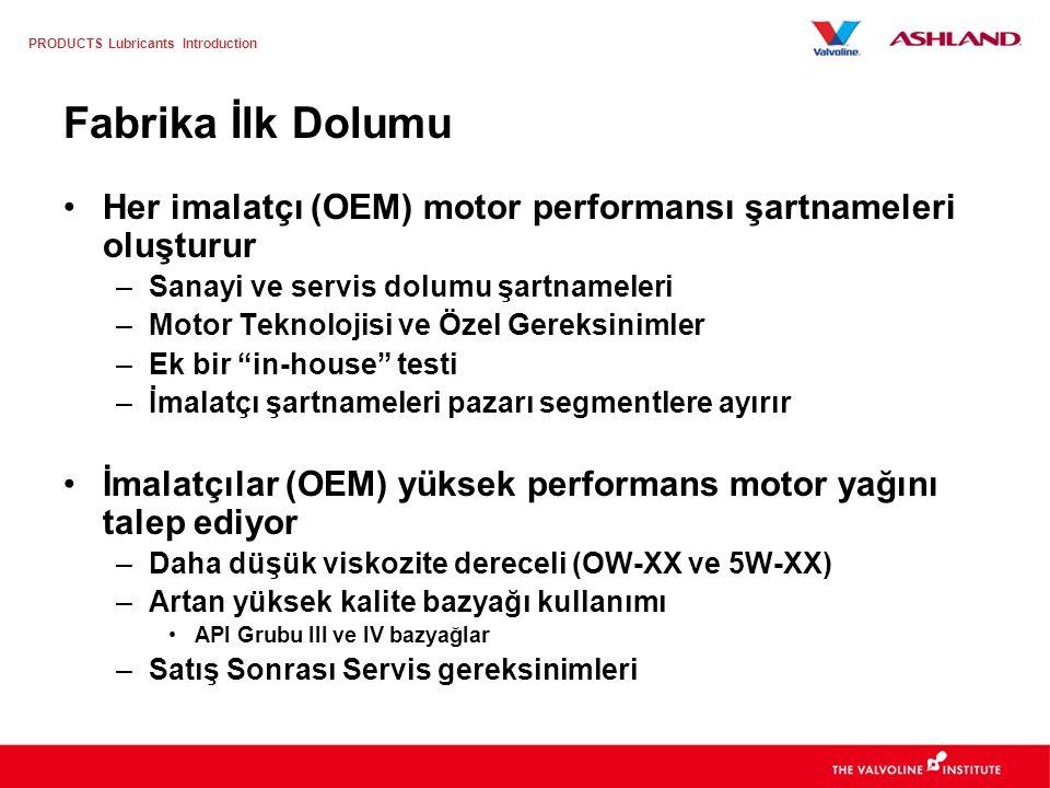 PRODUCTS Lubricants Introduction Motor Yağı Pazarı – Batı Avrupa Fabrika İlk Dolumu Pazarı –80k MT –Toplam pazarın %7'si Satış Sonrası Servis Tüketimi –1020k MT –Toplam pazarın %93'ü