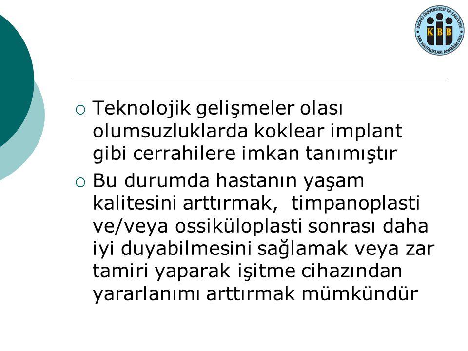  Teknolojik gelişmeler olası olumsuzluklarda koklear implant gibi cerrahilere imkan tanımıştır  Bu durumda hastanın yaşam kalitesini arttırmak, timp