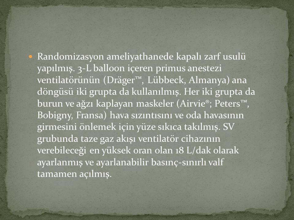 Randomizasyon ameliyathanede kapalı zarf usulü yapılmış. 3-L balloon içeren primus anestezi ventilatörünün (Dräger™, Lübbeck, Almanya) ana döngüsü iki