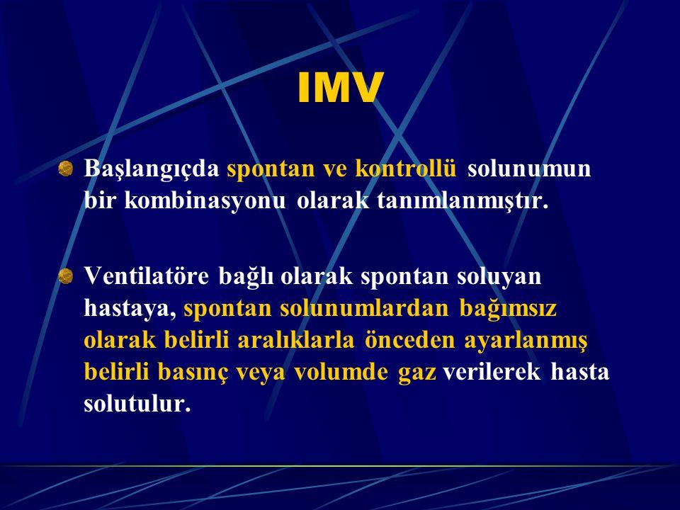 IMV Başlangıçda spontan ve kontrollü solunumun bir kombinasyonu olarak tanımlanmıştır.