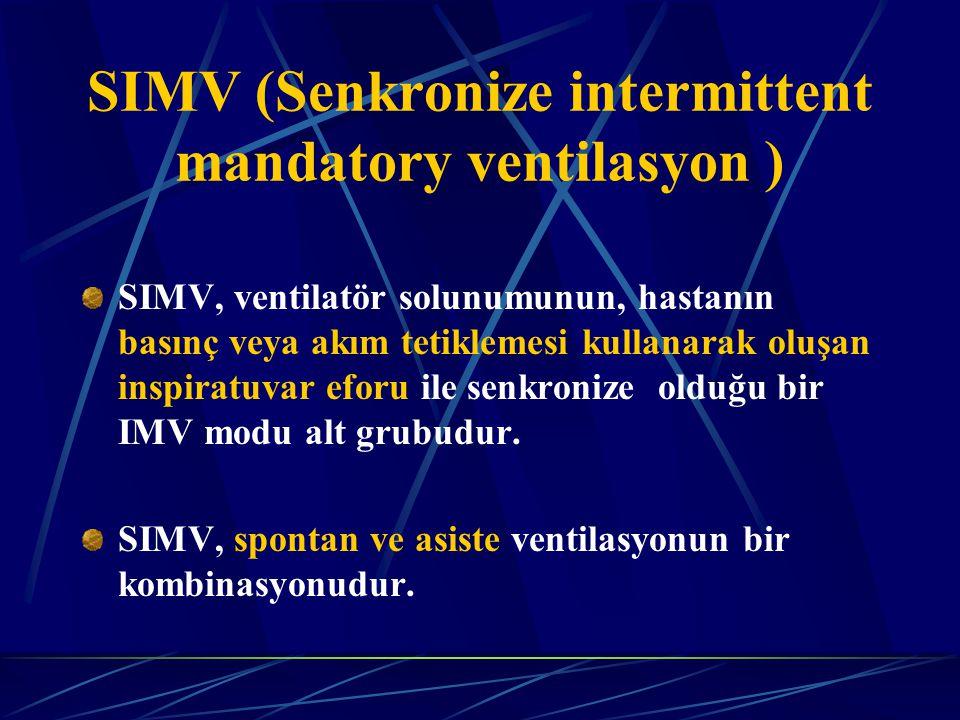 SIMV, ventilatör solunumunun, hastanın basınç veya akım tetiklemesi kullanarak oluşan inspiratuvar eforu ile senkronize olduğu bir IMV modu alt grubudur.
