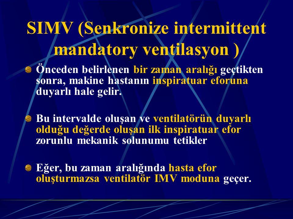SIMV (Senkronize intermittent mandatory ventilasyon ) Önceden belirlenen bir zaman aralığı geçtikten sonra, makine hastanın inspiratuar eforuna duyarlı hale gelir.