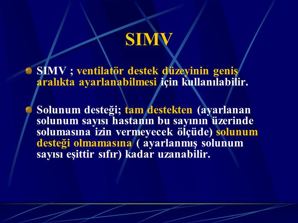 SIMV ; ventilatör destek düzeyinin geniş aralıkta ayarlanabilmesi için kullanılabilir.