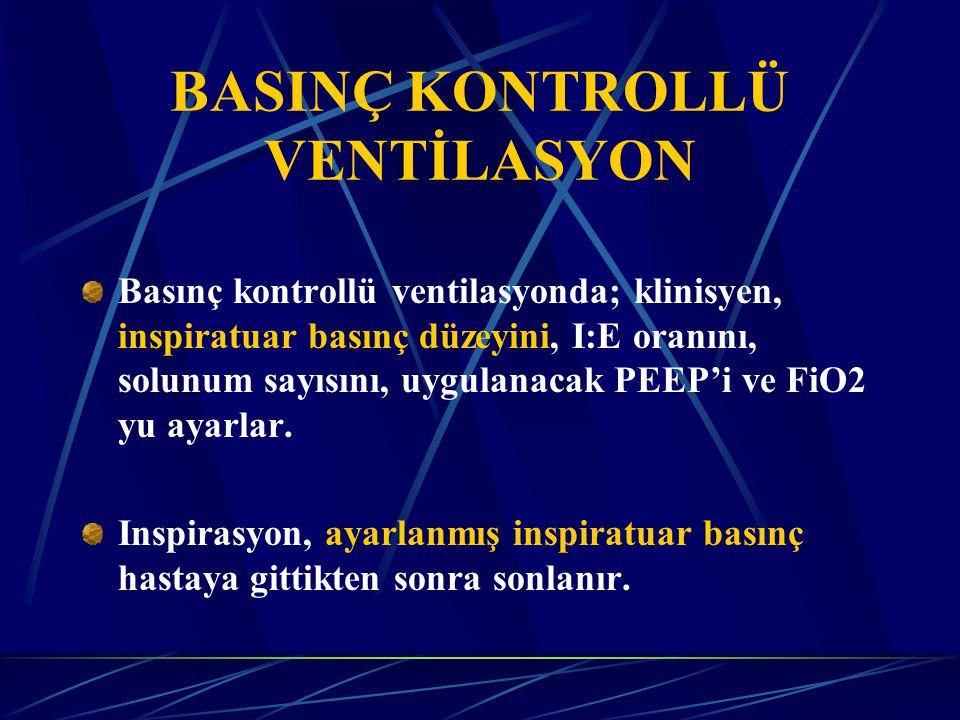 Basınç kontrollü ventilasyonda; klinisyen, inspiratuar basınç düzeyini, I:E oranını, solunum sayısını, uygulanacak PEEP'i ve FiO2 yu ayarlar.