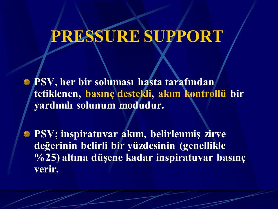 PRESSURE SUPPORT PSV, her bir soluması hasta tarafından tetiklenen, basınç destekli, akım kontrollü bir yardımlı solunum modudur.