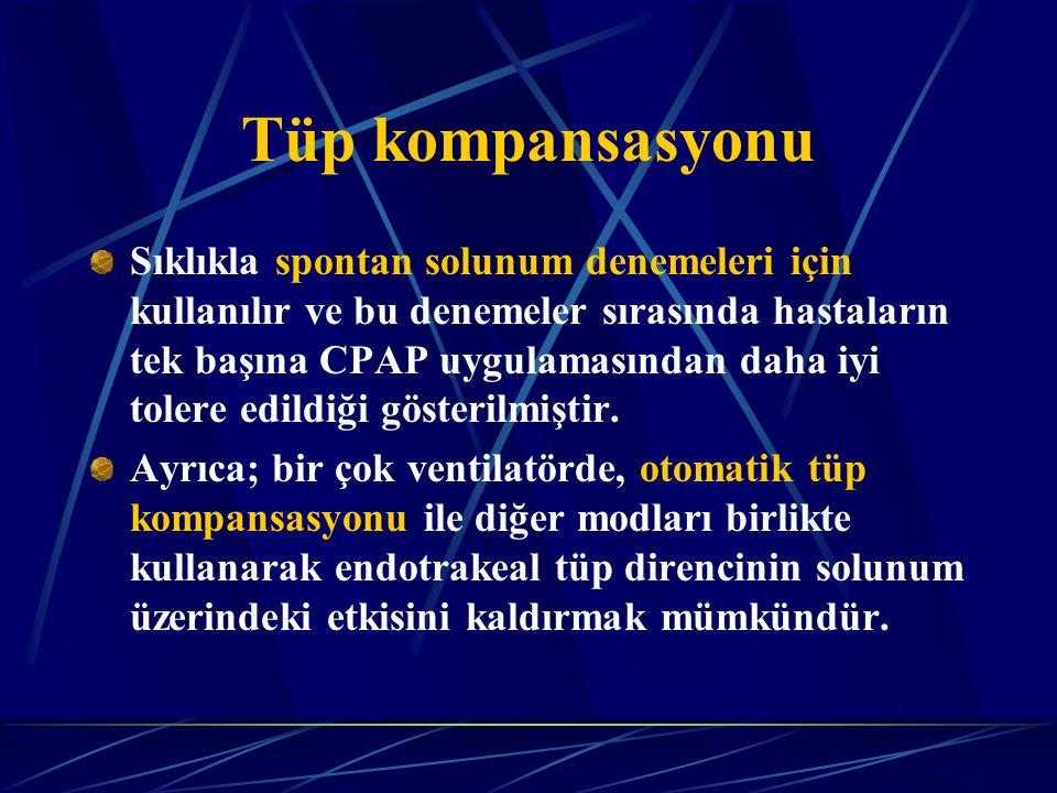 Tüp kompansasyonu Sıklıkla spontan solunum denemeleri için kullanılır ve bu denemeler sırasında hastaların tek başına CPAP uygulamasından daha iyi tolere edildiği gösterilmiştir.