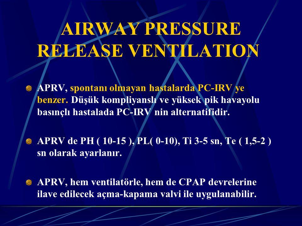 AIRWAY PRESSURE RELEASE VENTILATION APRV, spontanı olmayan hastalarda PC-IRV ye benzer.