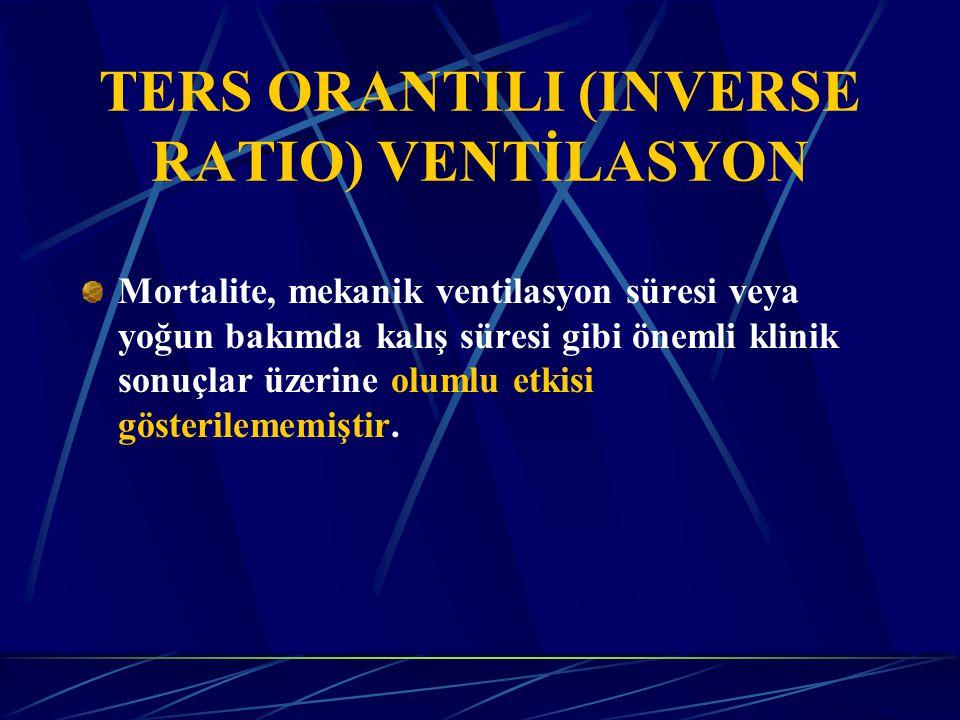TERS ORANTILI (INVERSE RATIO) VENTİLASYON Mortalite, mekanik ventilasyon süresi veya yoğun bakımda kalış süresi gibi önemli klinik sonuçlar üzerine olumlu etkisi gösterilememiştir.