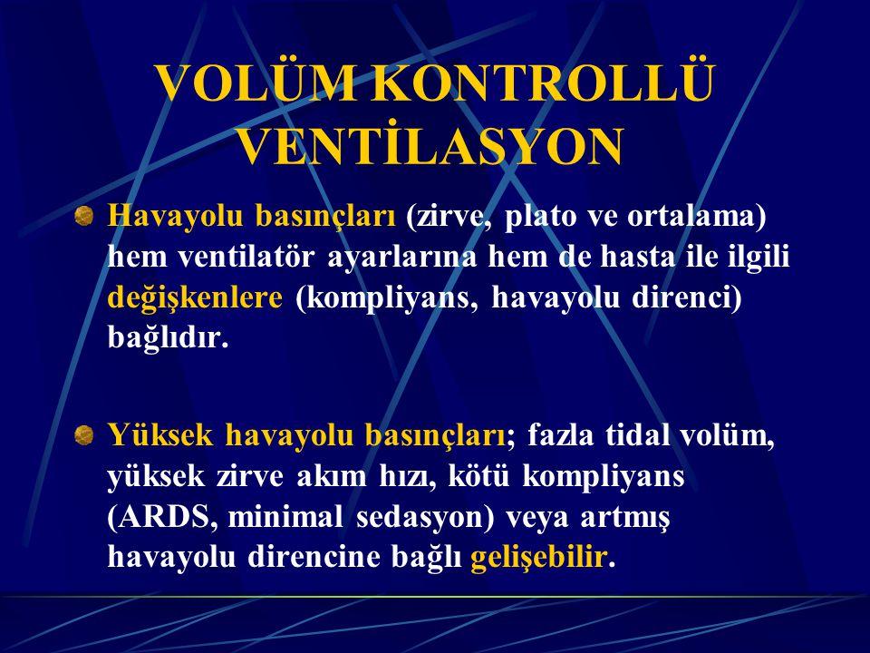VOLÜM KONTROLLÜ VENTİLASYON Havayolu basınçları (zirve, plato ve ortalama) hem ventilatör ayarlarına hem de hasta ile ilgili değişkenlere (kompliyans, havayolu direnci) bağlıdır.