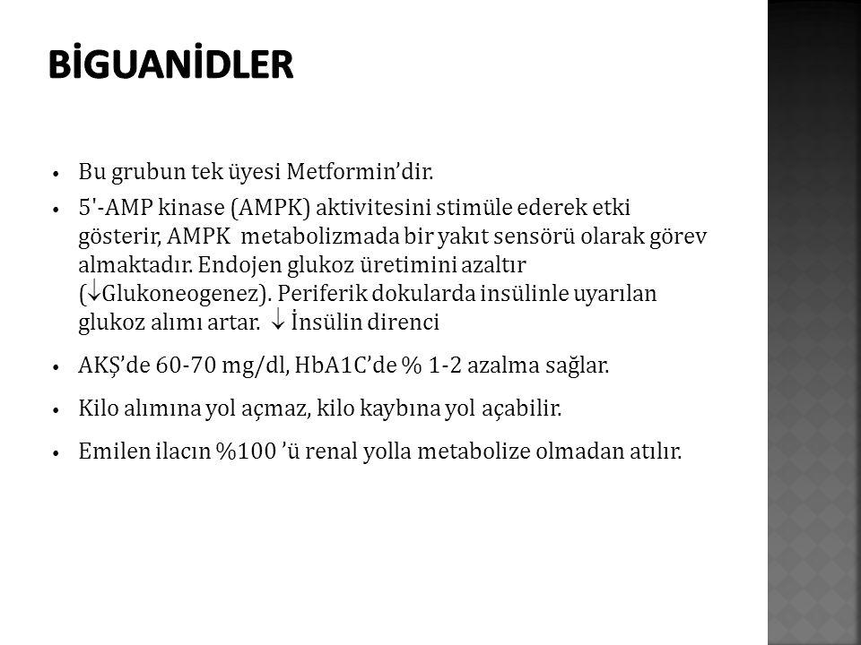 Bu grubun tek üyesi Metformin'dir. 5'-AMP kinase (AMPK) aktivitesini stimüle ederek etki gösterir, AMPK metabolizmada bir yakıt sensörü olarak görev a