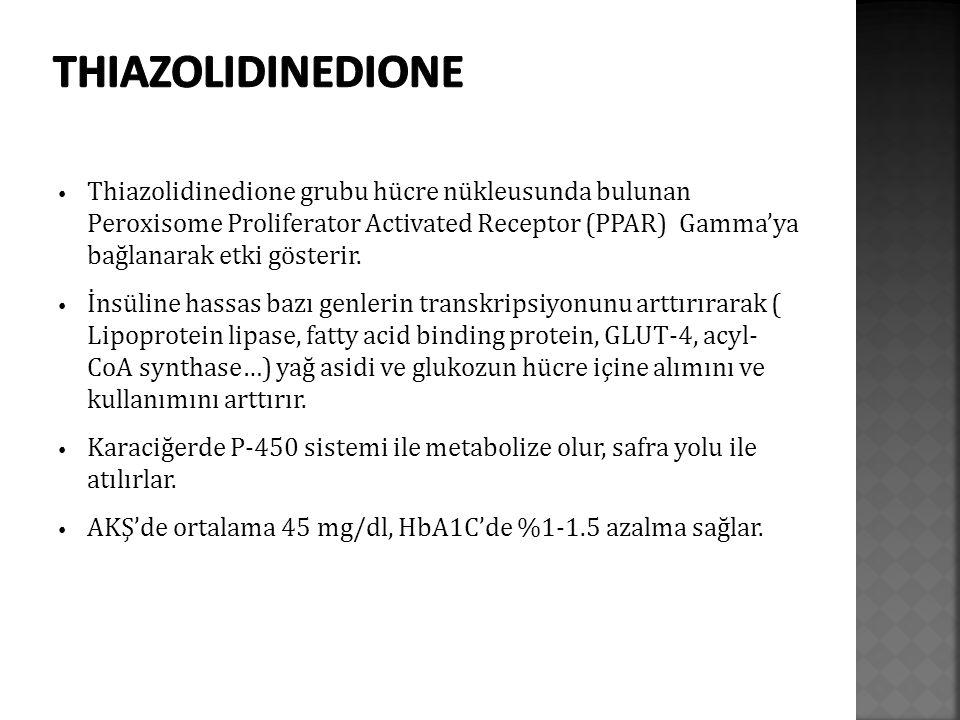 Thiazolidinedione grubu hücre nükleusunda bulunan Peroxisome Proliferator Activated Receptor (PPAR) Gamma'ya bağlanarak etki gösterir.