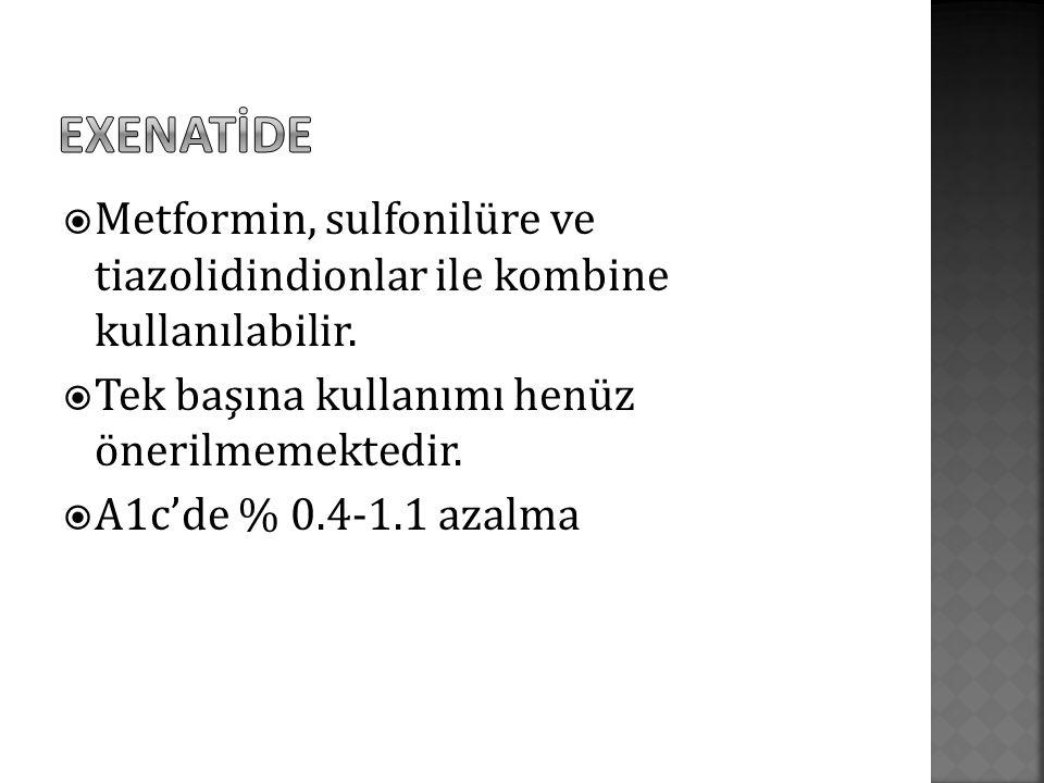  Metformin, sulfonilüre ve tiazolidindionlar ile kombine kullanılabilir.  Tek başına kullanımı henüz önerilmemektedir.  A1c'de % 0.4-1.1 azalma