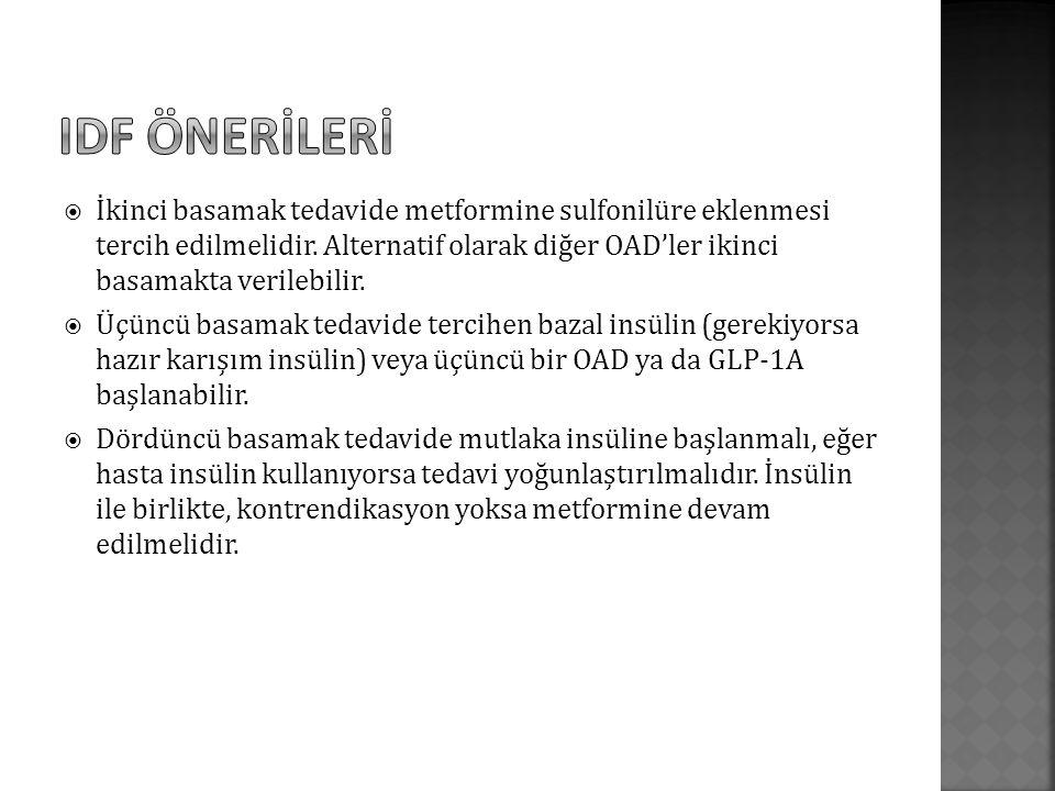  İkinci basamak tedavide metformine sulfonilüre eklenmesi tercih edilmelidir.