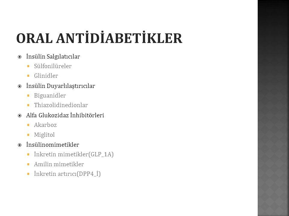  Başlangıçtaki A1C ≥%10 (≥86 mmol/mol), APG >250 mg/dl veya random PG >300 mg/dl olan ya da hiperglisemik semptomları bulunan veya metabolik dekompansasyonu (DKA, HHD) olan hastalarda, tedaviye insülin ile başlanmalıdır.