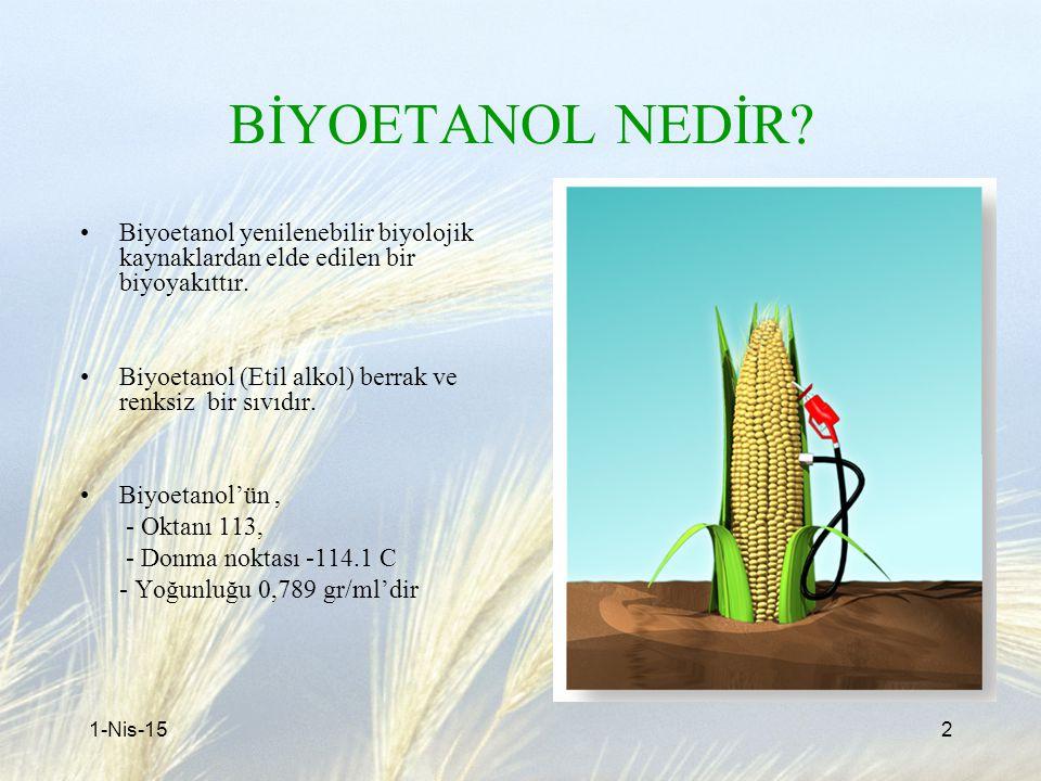 BİYOETANOL NEDİR? Biyoetanol yenilenebilir biyolojik kaynaklardan elde edilen bir biyoyakıttır. Biyoetanol (Etil alkol) berrak ve renksiz bir sıvıdır.