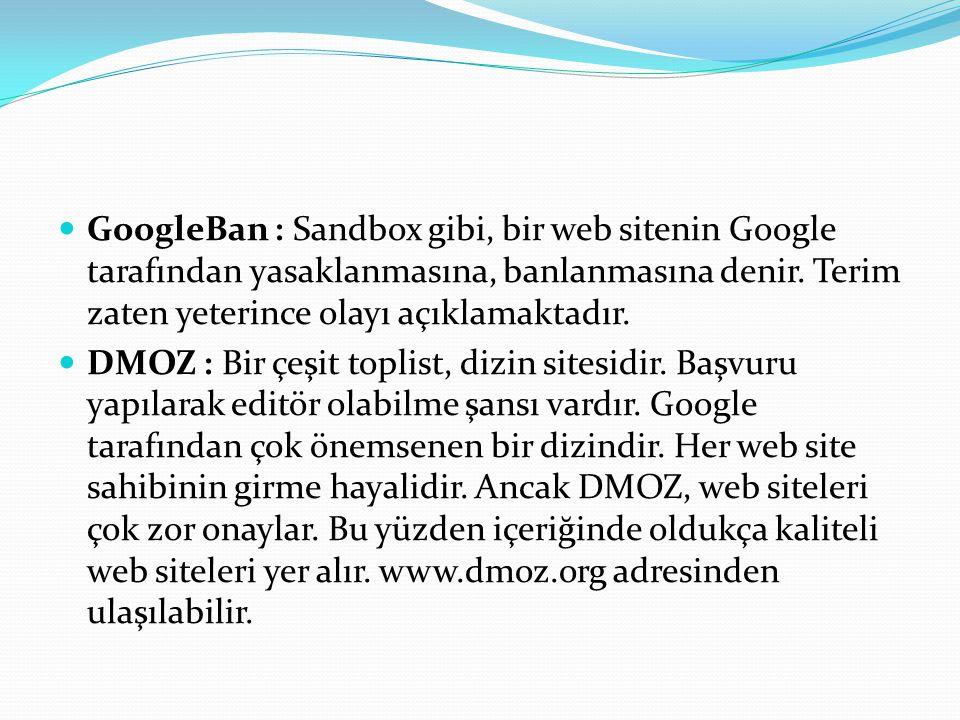 GoogleBan : Sandbox gibi, bir web sitenin Google tarafından yasaklanmasına, banlanmasına denir.