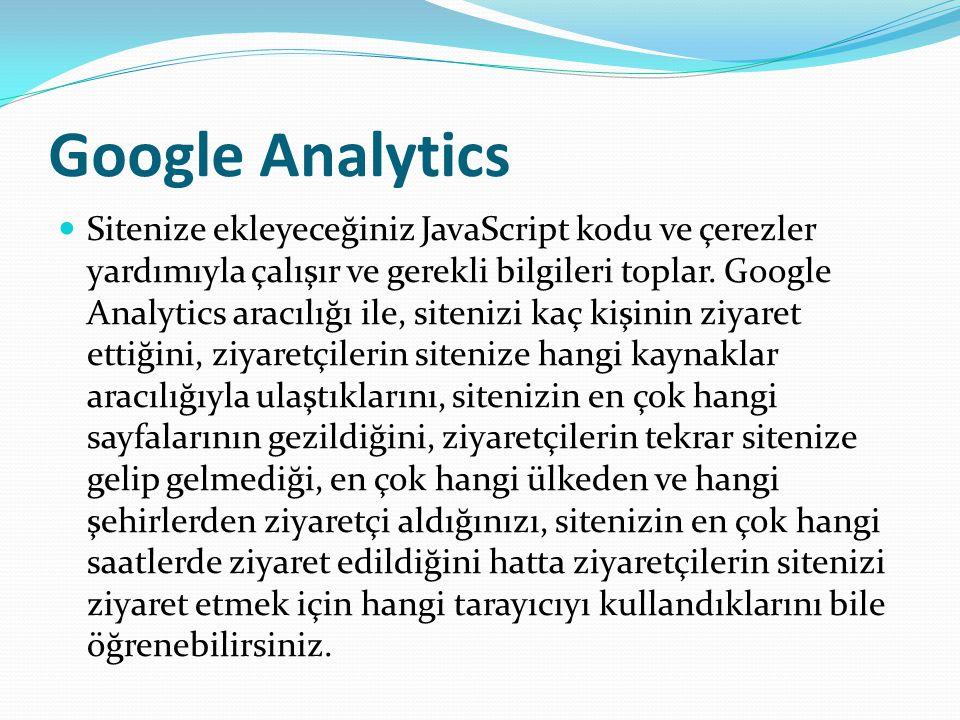 Google Analytics Sitenize ekleyeceğiniz JavaScript kodu ve çerezler yardımıyla çalışır ve gerekli bilgileri toplar.