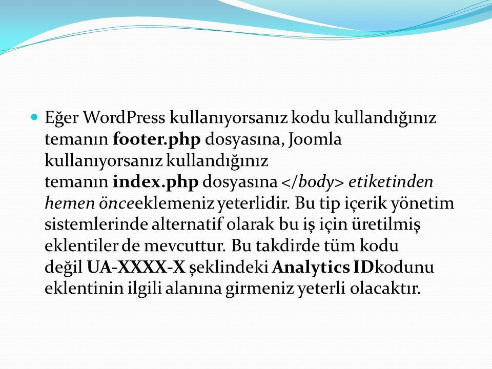 Eğer WordPress kullanıyorsanız kodu kullandığınız temanın footer.php dosyasına, Joomla kullanıyorsanız kullandığınız temanın index.php dosyasına etiketinden hemen önceeklemeniz yeterlidir.