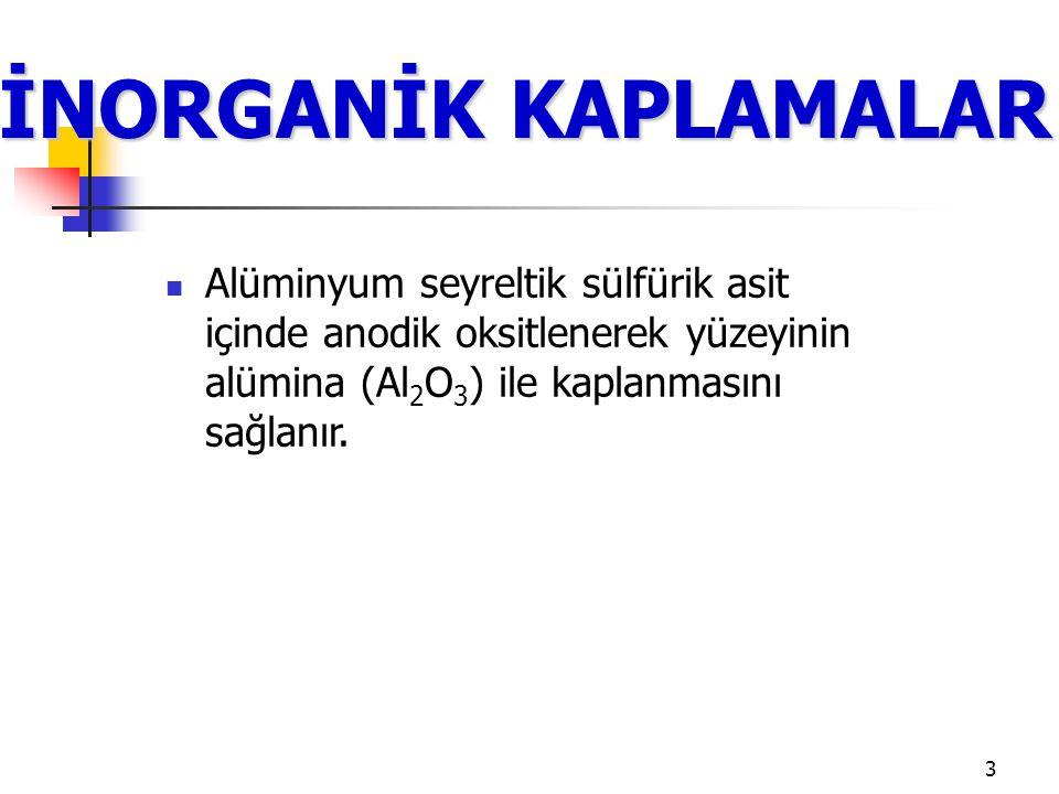 3 İNORGANİK KAPLAMALAR Alüminyum seyreltik sülfürik asit içinde anodik oksitlenerek yüzeyinin alümina (Al 2 O 3 ) ile kaplanmasını sağlanır.