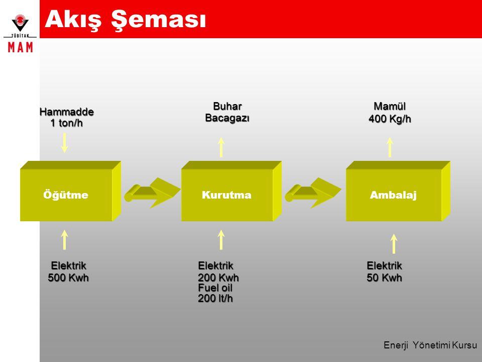 Enerji Yönetimi Kursu Akış ŞemasıBuharBacagazıMamül 400 Kg/h ÖğütmeKurutmaAmbalaj Hammadde 1 ton/h Elektrik 500 Kwh Elektrik 200 Kwh Fuel oil 200 lt/h