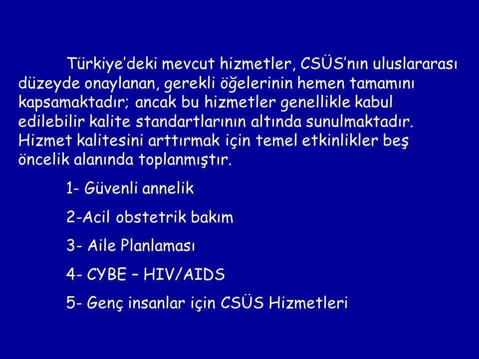 Türkiye'deki mevcut hizmetler, CSÜS'nın uluslararası düzeyde onaylanan, gerekli öğelerinin hemen tamamını kapsamaktadır; ancak bu hizmetler genellikle